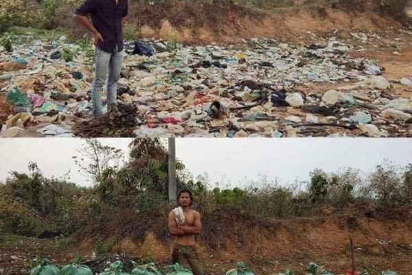 a picture of a Nepali guy completing the #trashtag challenge