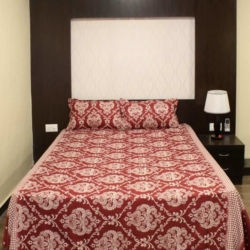 Maroon Vella Cotton Double Bed Sheet With 2 Pillow Covers