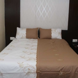White/Brown Floral Embroidered King Size Bedsheet With 2 Pillow Covers