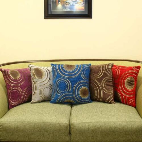 Pack of 5 Circle Pattern Velvet Cushion Cover