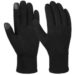 Black Gloves Inside Fur With Touch